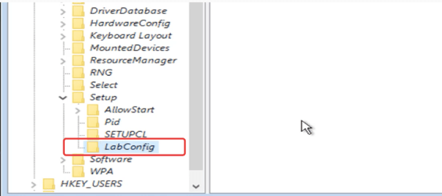 Name the new key as LabConfig