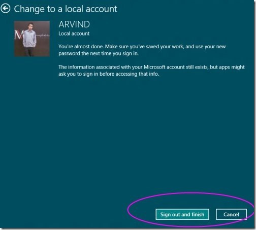 Toogle Between Microsoft account to local account 5