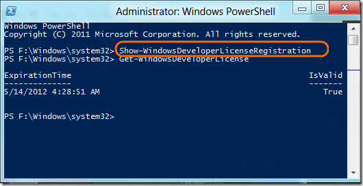 Windows Developer license command