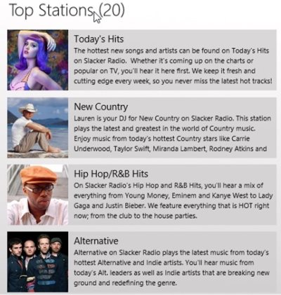 slacker radio windows app