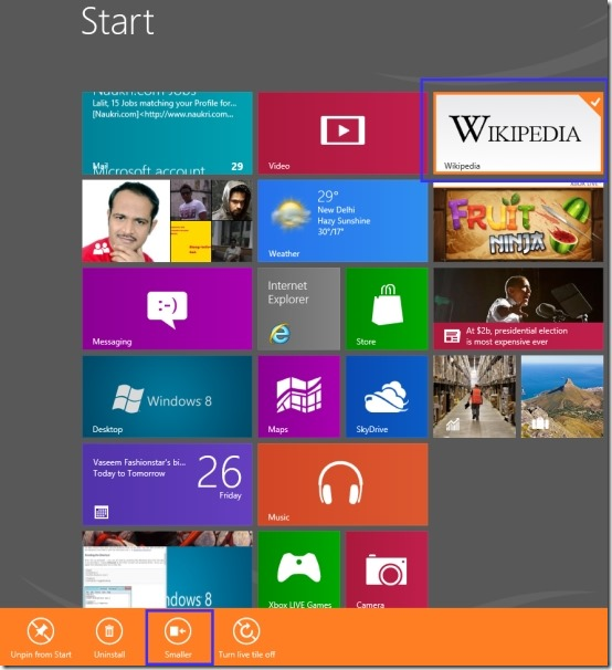 Make Windows 8 Tiles Smaller
