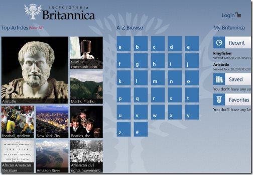 Encyclopedia Britannica app for Windows 8