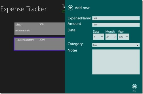 Expense Tracker Windows 8 apps