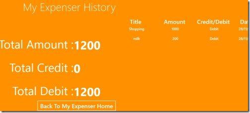 Windows 8 Expense Tracker app