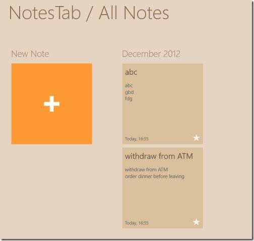 Windows 8 notes app