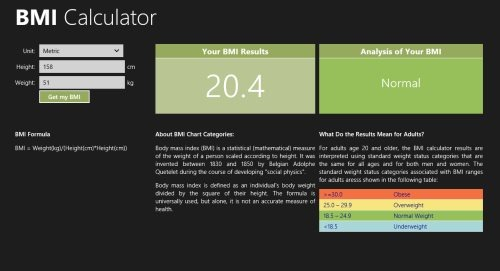4 free Windows 8 BMI Calculator Apps