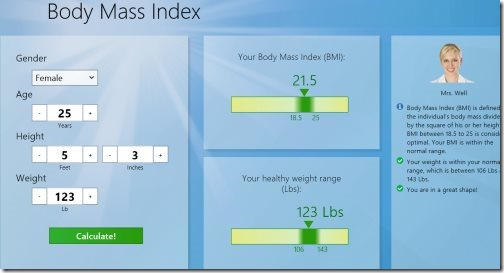 BMI calculator Windows 8 apps