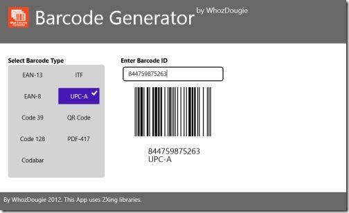 Barcode Generator app