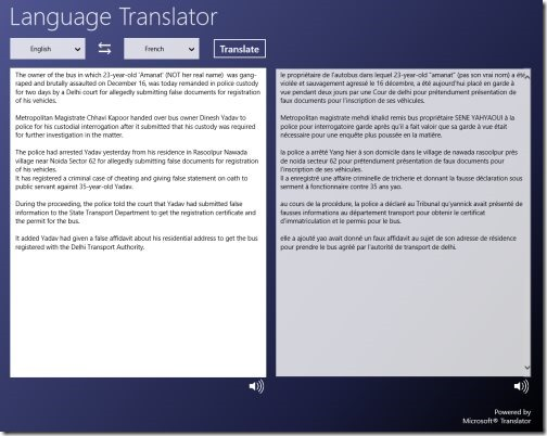 Windows 8 Language Translator app
