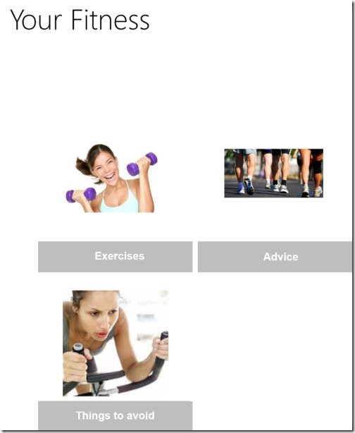 Windows 8 fitness app