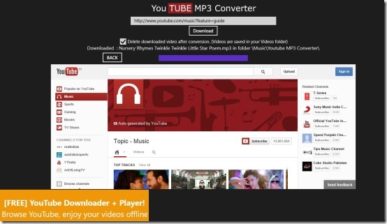 YouTube MP3 Converter app for Windows 8