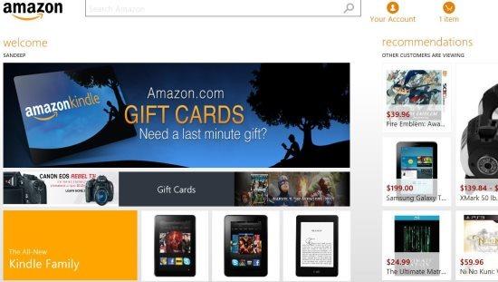 windows 8 amazon app