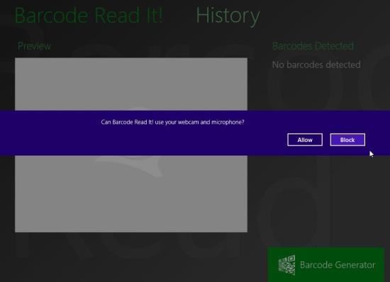 Windows 8 QR Code Scanner App