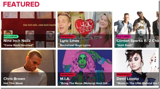vevo featured videos section