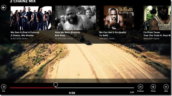 vevo music videos playback controls