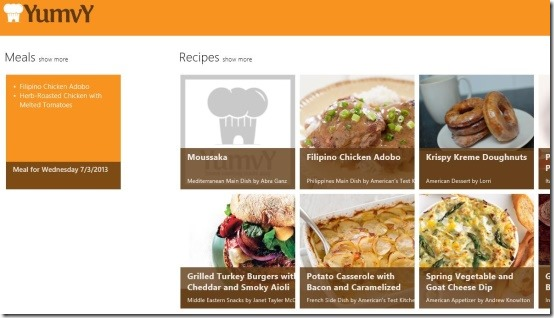 yumvy windows 8 cooking app