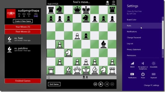 Chess By Post- settings