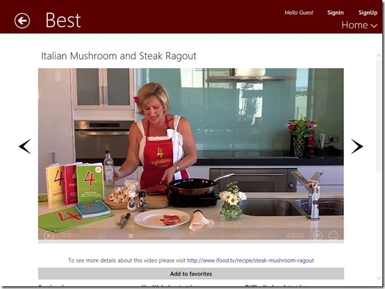Italian Recipes- Windows 8 Recipe App -Learn from Videos