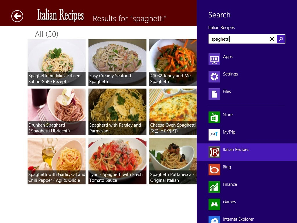Free windows 8 recipe app to find italian recipes windows 8 freeware italian recipes windows 8 recipe app search in windows charm forumfinder Gallery