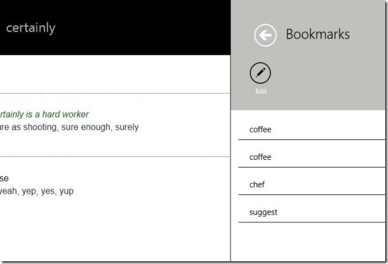 WordWeb - Windows 8 dictionary App - Bookmarked words