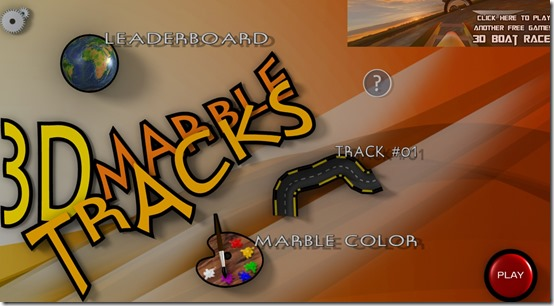 3D Marble Tracks- Main Screen