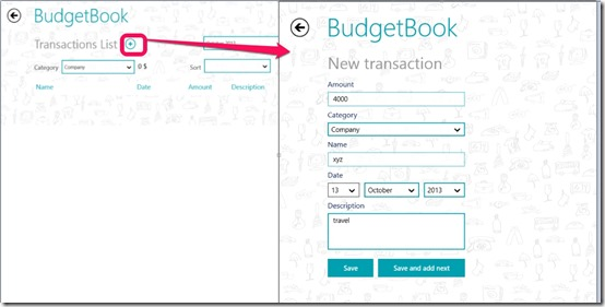BudgetBook- Add transaction