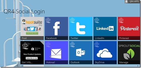 QR4 Social Login- Main Screen