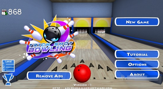 Trick Shot Bowling- Main Screen