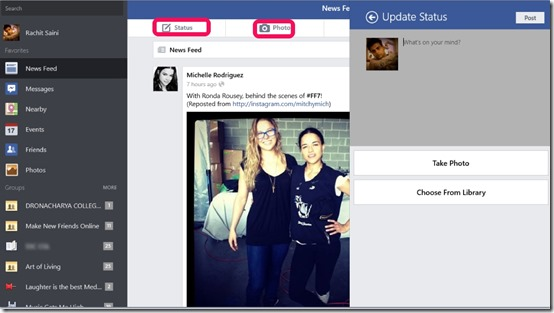 Facebook- Update Status or add photos