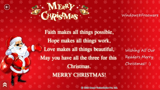 Windows 8 new year and christmas ecards app free greetings greetings can be availed freely from the lifestyle category of windows store or using the link given at the end of this article m4hsunfo