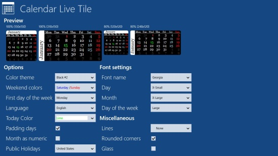 Calendar Live Tile - Settings