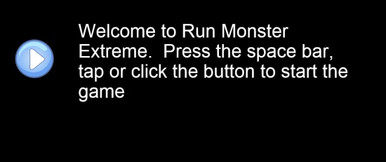 Run Monster Extreme- Start screen