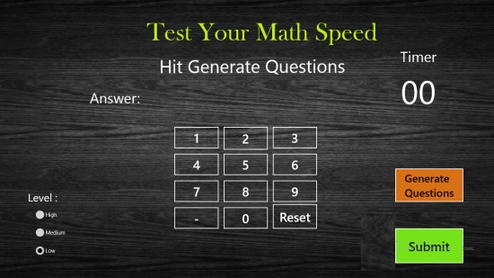 Test Your Maths Speed- Main Screen