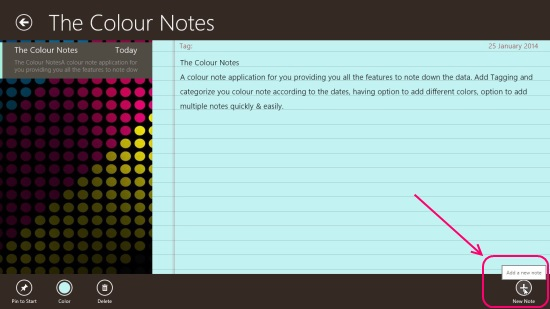 The Colour Notes - Adding New Note