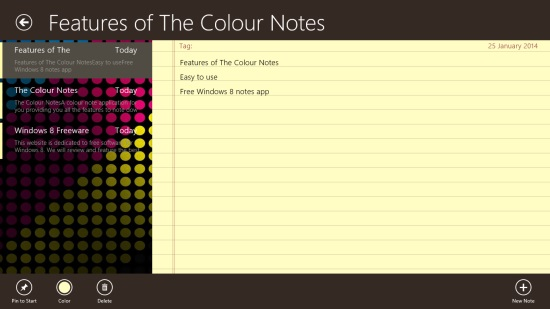 The Colour Notes - Notes Screen