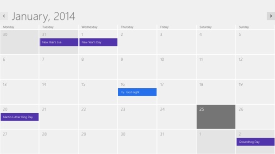 Windows 8 Default Calendar