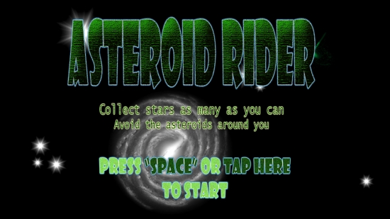 Asteroid Rider - Start screen