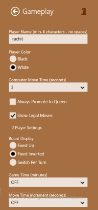 Chess Wars- Game play settings