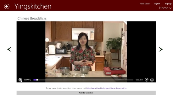 Chinese Recipes - Playing a Video