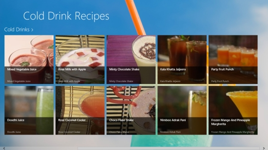 Cold Drinks Recipes - Main screen