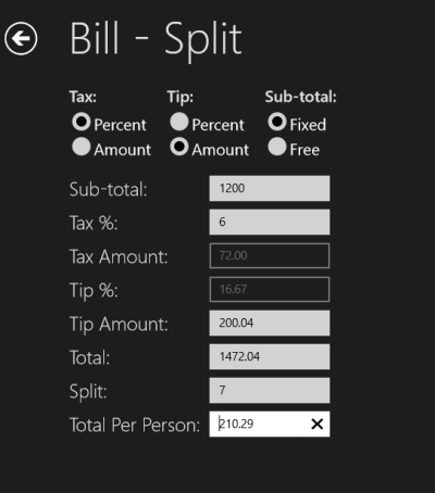 Handy Calcs- Bill Split