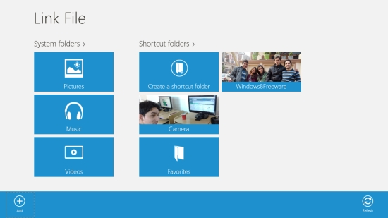 Link File - Main screen
