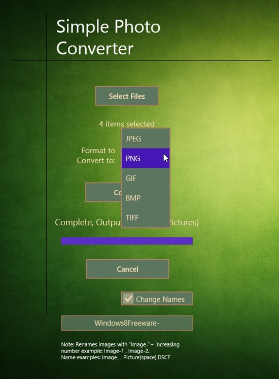 Simple PhotoConverter - Output File Format Selection
