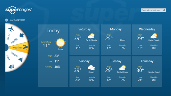 Superpages - Weather tab
