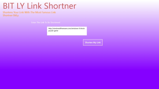 BIT LY Shortener - Main screen