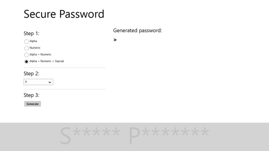 Secure Password - Main screen
