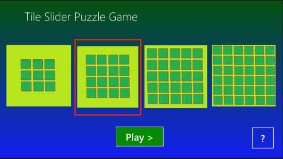 Tile Slider - Main screen