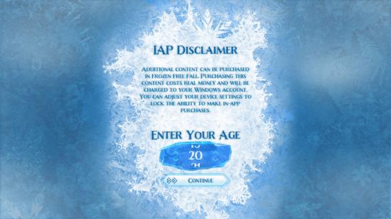 Frozen Free Fall - Start Screen