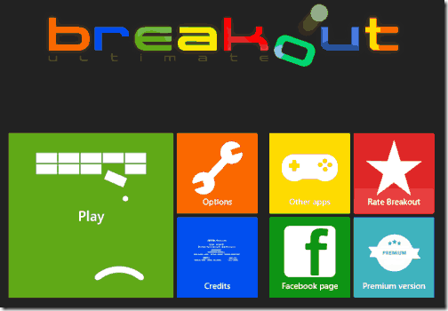 Breakout Ultimate - Start Screen