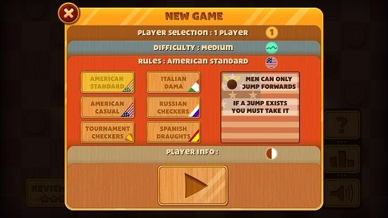 Checkers Deluxe supported game modes